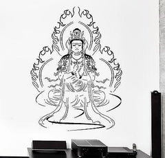 Wall Decal Great Buddha Mandala Mantra Chakra Meditation Vinyl Sticker Unique Gift (z2876)