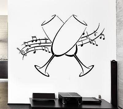 Vinyl Decal Wall Stickers Glasses Holiday Music Notes Kitchen Decor Unique Gift (ig2561)