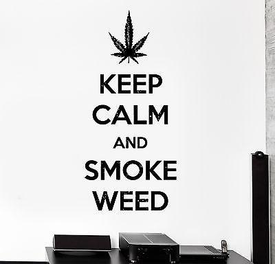 Wall Vinyl Marihuana Keep Calm And Smoke Weed Decal Unique Gift (z3405)