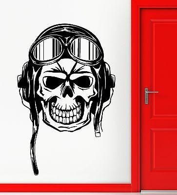 Wall Sticker Vinyl Decal Skull Skeleton Pilot Aviation Decor Rooms Unique Gift (ig2156)