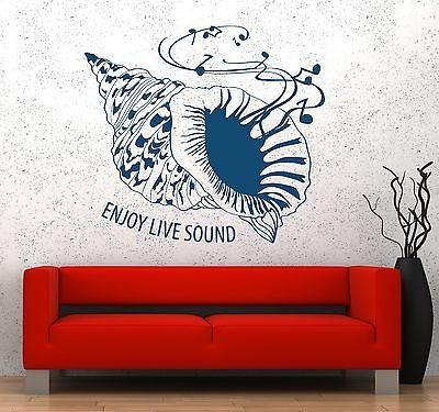 Wall Vinyl Music Seashell Sea Enjoy Sound Guaranteed Quality Decal Unique Gift (z3549)