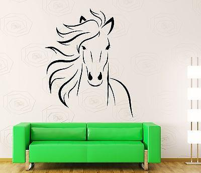 Wall Decal Animal Horse Head Mustang Freedom Sticker (z3207)