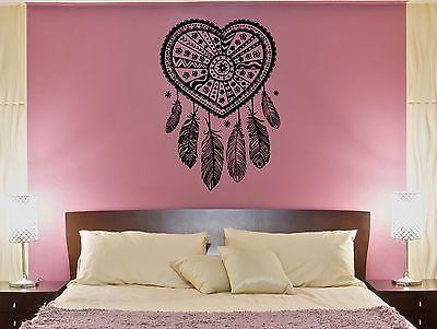 Wall Decal Love Catcher Heart Patterns Plumage Bedroom Vinyl Stickers Unique Gift (ed112)