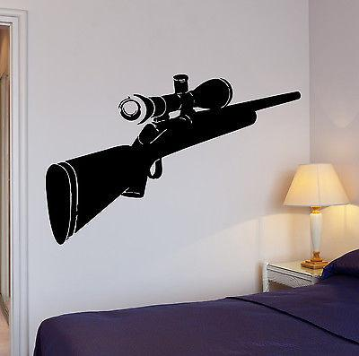 Wall Decal Hunt Hunting Sniper Rifle Cool Art For Living Room Unique Gift (z2626)