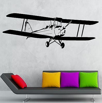 Wall Decal Airplane Aviation Kids Boys Room Decor Stickers Art Mural Unique Gift (ig2524)
