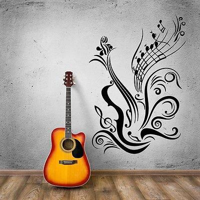 Music Vinyl Decal Guitar Notes Cool Decal for Room Wall Stickers  Unique Gift (ig965)