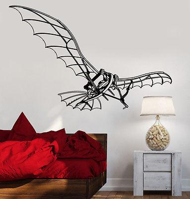 Wall Vinyl Flying Machine Leonardo Da Vinci  Guaranteed Quality Decal (z3484)