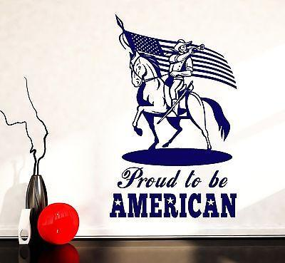 Wall Vinyl Civil War Cavalry USA Flag Guaranteed Quality Decal (z3472)
