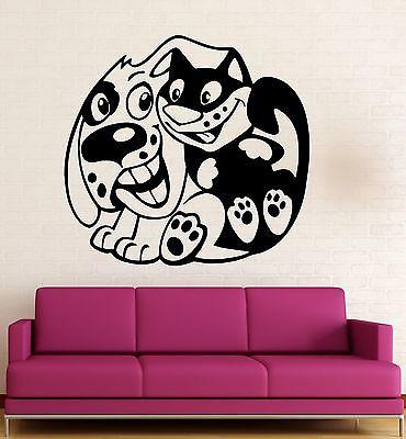 Wall Stickers Vinyl Decal Dog Cat Friendship For Kids Baby Room Positive Unique Gift (ig697)