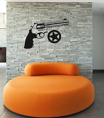 Wall Stickers Vinyl Decal Weapons Revolver Gun Star Sheriff Unique Gift ig862
