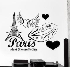 Wall Decal Paris France Eiffel Tower Heart Wing Love Romantic Vinyl Decal z3131