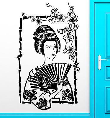 Wall Sticker Vinyl Decal Geisha Japan Japanese Oriental Girl Cool Decor Unique Gift (z2468)