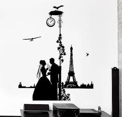 Wall Decal Paris France Clocks Midnight Romantic Love Airplane Vinyl Decal z3114