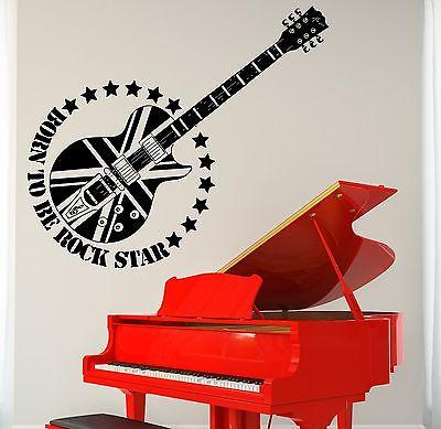 Wall Vinyl Music Guitar Rock Star England Flag Guaranteed Quality Decal (z3496)