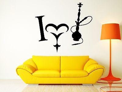 Wall Sticker Hookah I Love Smoke Smoking Weed Decor for Living Room Unique Gift (z2563)