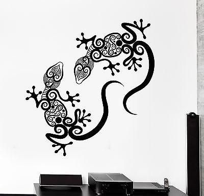 Wall Decal Gecko Lizard Animal Ornament Tribal Mural Vinyl Decal Unique Gift (z3314)