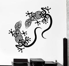 Wall Decal Gecko Lizard Animal Ornament Tribal Mural Vinyl Decal (z3314)