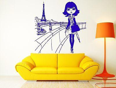 Decal Paris Eiffel Tower France Europe Fashion Girl Decor For Bedroom Unique Gift (z2634)
