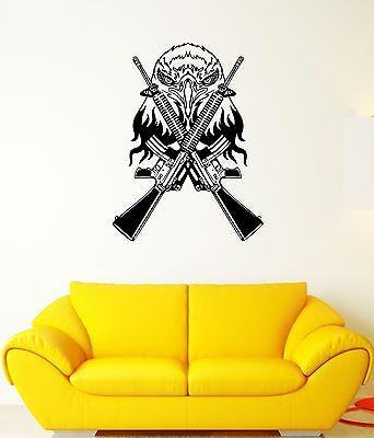 Wall Decal Eagle Weapons Automatic Machine Gun Shooting Vinyl Stickers Unique Gift (ed132)