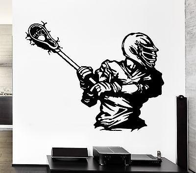 Wall Decal Sport American Lacrosse Player Game Ball Vinyl Stickers (ed298)