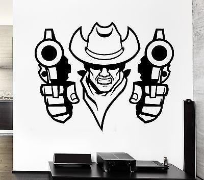 Wall Decal Bandit Cowboy Robber Revolver Hat East Duel Vinyl Stickers Unique Gift (ed072)