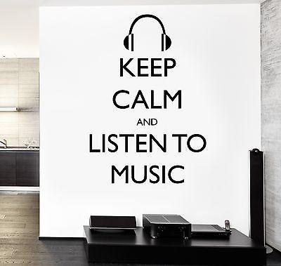 Wall Vinyl Quote Keep Calm And listen To Music Guaranteed Quality Decal Unique Gift (z3516)