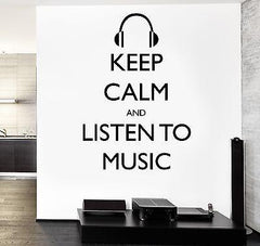 Wall Vinyl Quote Keep Calm And listen To Music Guaranteed Quality Decal (z3516)