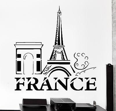 Wall Decal Paris France Eiffel Tower French Building Vinyl Decal Unique Gift (z3126)