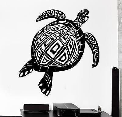 Wall Decal Animal Turtle Tortoise Ornament Tribal Mural Vinyl Decal Unique Gift (z3174)