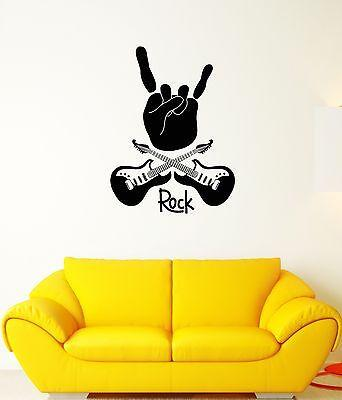 Wall Decal Music Rock Star Guitar Peace Concert Mural Vinyl Stickers Unique Gift (ed020)