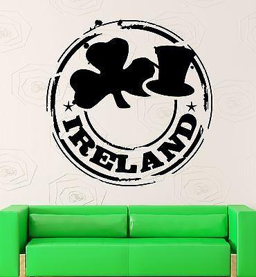 Wall Stickers Vinyl Decal Ireland Dublin Shamrock Symbol Luck Talisman Unique Gift (ig2302)