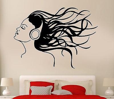 Headphones Music Hair Cool Decor Sexy Girl Rock Pop Song Wall Decal Unique Gift (z2730)