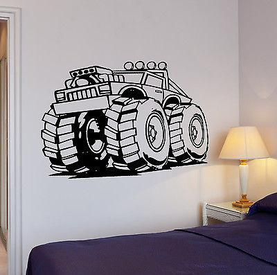 Wall Decal Big Machine Wheels Jeep SUV ATV Power Mural Vinyl Stickers (ed205)
