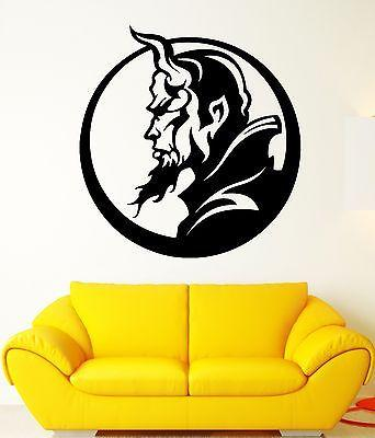 Wall Decal Hell Demon Devil Horns Vampire Profile Darkness Vinyl Decal Unique Gift (ed309)
