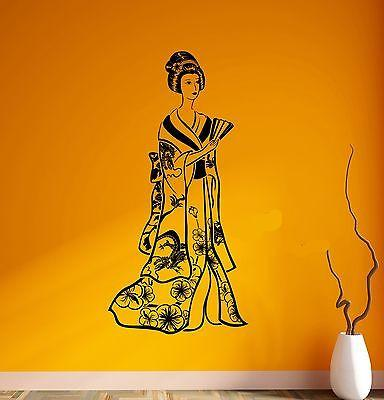 Wall Decal Geisha Japan Girl Beauty Woman Japan East Vinyl Stickers Unique Gift (ed124)