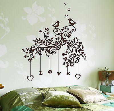 Wall Decal Tree Branch Love Romantic Heart Vinyl Sticker Unique Gift (z3634)