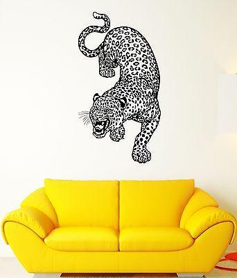 Wall Decal Leopard Cheetah Predator Animal Grin Wildcat Vinyl Stickers Unique Gift (ed120)