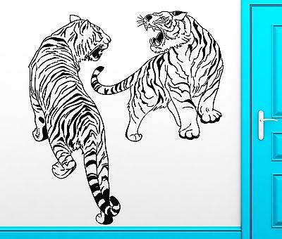 Wall Sticker Vinyl Decal Fighting Tigers African Animals Cool Decor Unique Gift (z2497)