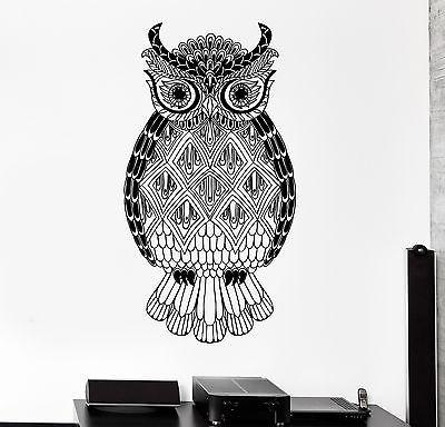 Wall Vinyl Owl Bird Cool Tribal Ornament Mural Vinyl Decal Unique Gift (z3360)