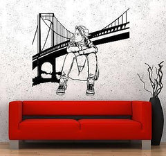Wall Decal New York Brooklyn Bridge Sexy Girl Vinyl Sticker Unique Gift (z3619)