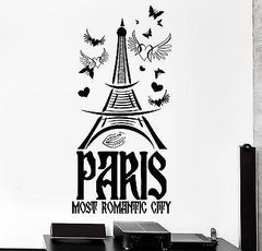 Wall Decal Paris France Eiffel Tower Most Romantic City Love Vinyl Decal Unique Gift (z3125)