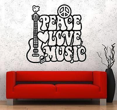 Wall Vinyl Music Hippie Peace Love Flower Guaranteed Quality Decal Unique Gift (z3524)