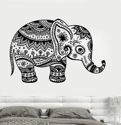 Wall Vinyl Elephant Cute Animal Tribal Ornament Mural Vinyl Decal (z3367)