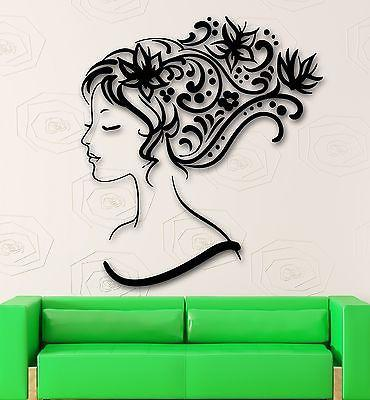 Wall Stickers Vinyl Decal Sexy Girl Abstract Hair Beauty Salon (ig341)