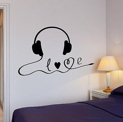 Wall Decal Music Headphones Stereo Player Sound Headset Vinyl Stickers Unique Gift (ed161)