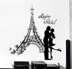 Wall Decal Paris France Kissing Couple Eiffel Tower Vinyl Decal (z3141)