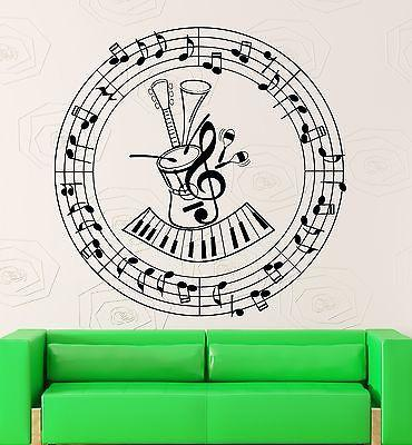 Wall Stickers Music Notes Guitar Musical Instrument Decor Vinyl Decal Unique Gift (ig2416)