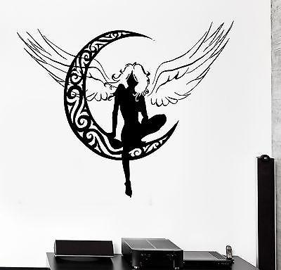 Wall Decal Fairy Beautiful Girl Woman Angel Moon Vinyl Stickers Art Mural Unique Gift ig2602
