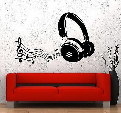 Wall Vinyl Music Headphones Notes Guaranteed Quality Decal Unique Gift (z3582)