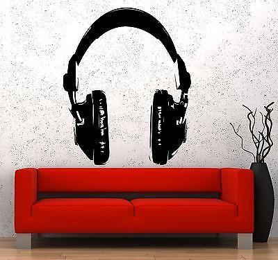 Wall Vinyl Music Headphones Head Phones Rock Pop Guaranteed Quality Decal z3533
